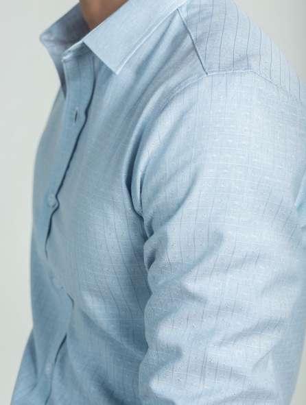 Đồng phục áo sơ mi tay dài màu xanh