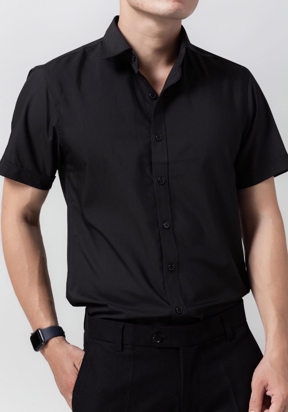 Đồng phục áo sơ mi tay ngắn màu đen