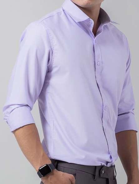 Đồng phục áo sơ mi tay dài màu tím nhạt
