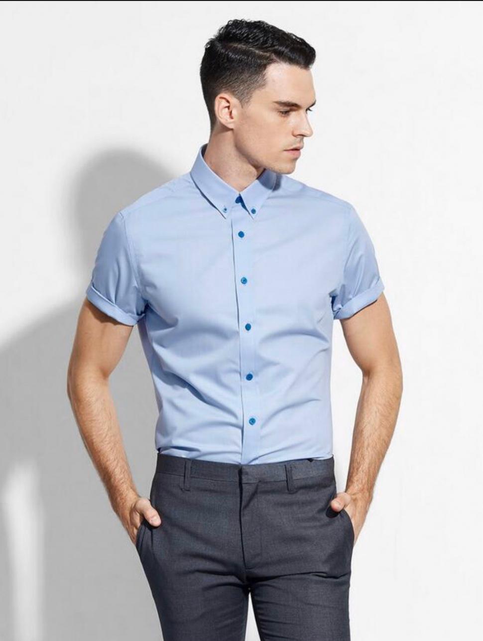 Đồng phục áo sơ mi tay ngắn màu xanh