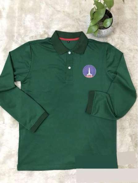 Đồng phục áo thun cổ trụ tay dài màu xanh lá