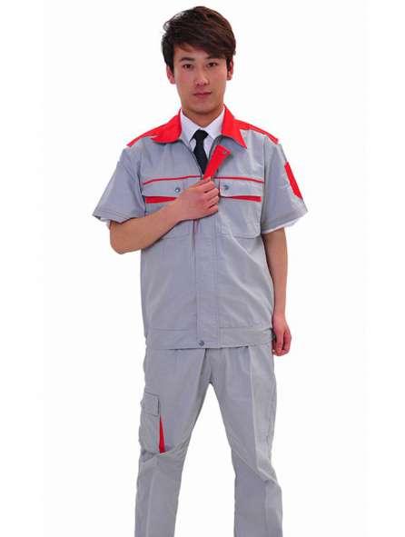 Đồng phục bảo hộ tay ngắn màu xám phối đỏ