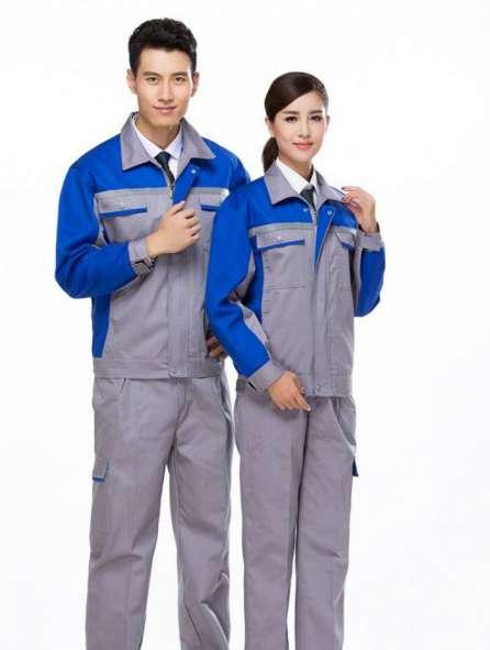 Đồng phục bảo hộ tay dài phối màu xám, xanh dương