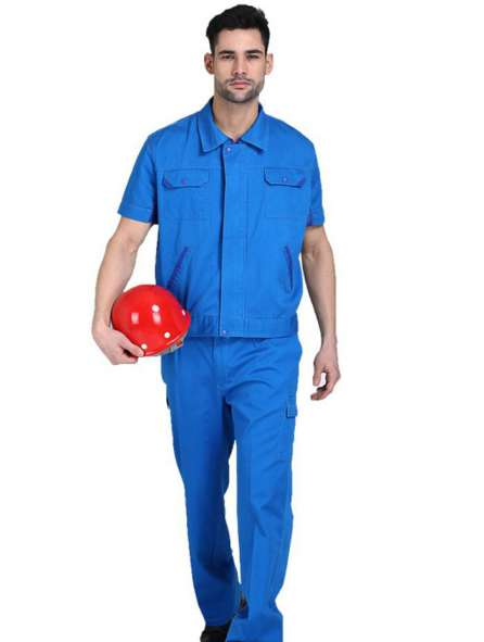 Đồng phục bảo hộ tay ngắn màu xanh dương