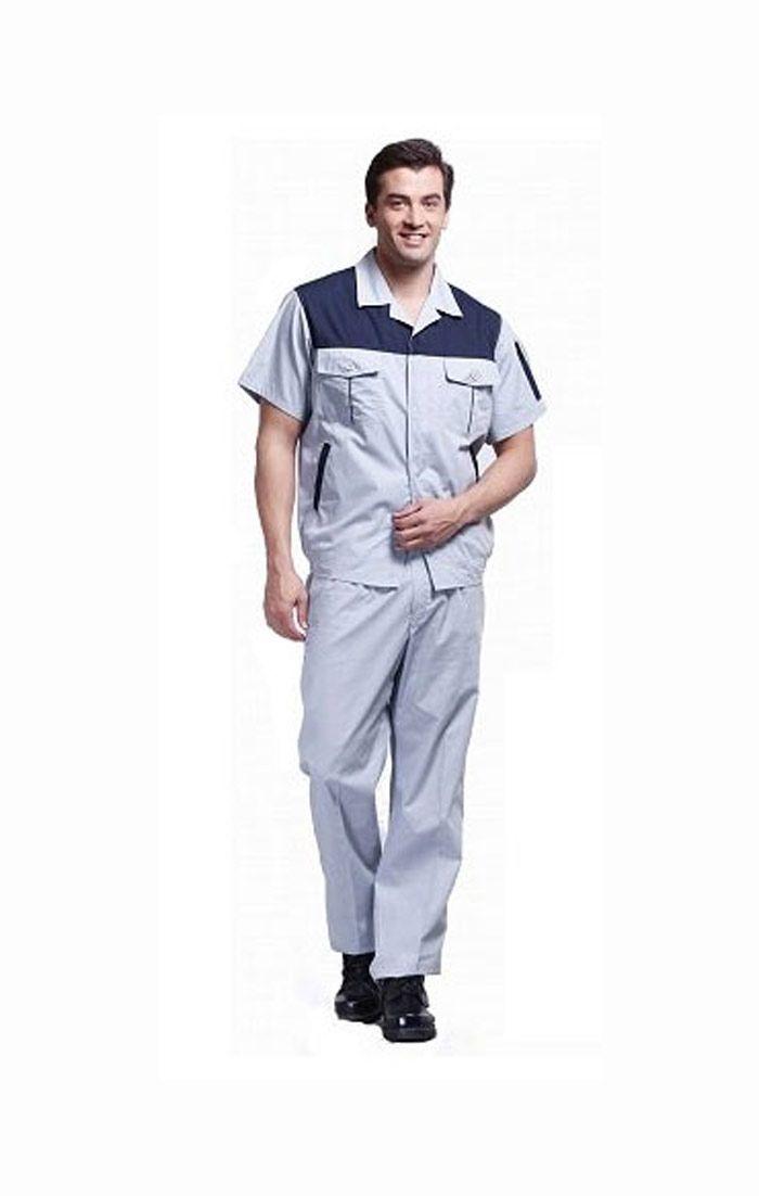 Đồng phục bảo hộ tay ngắn phối màu xám, xanh đen
