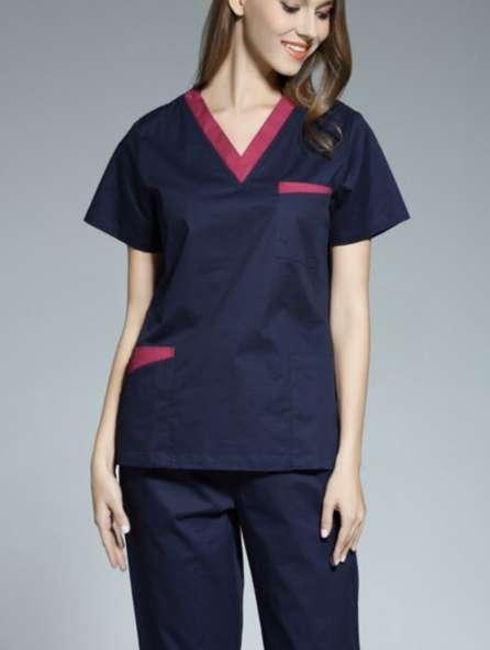 Đồng phục công nhân màu xanh viền hồng