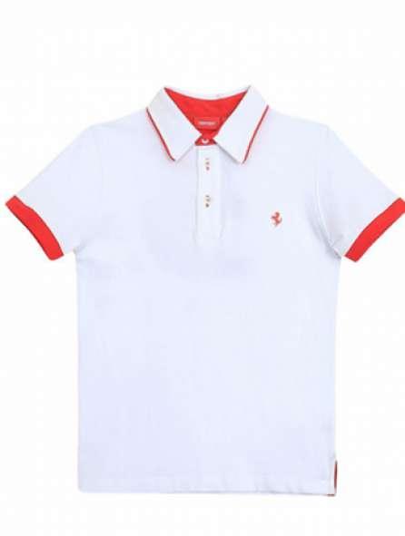Áo thun đồng phục cổ trụ màu trắng viền đỏ