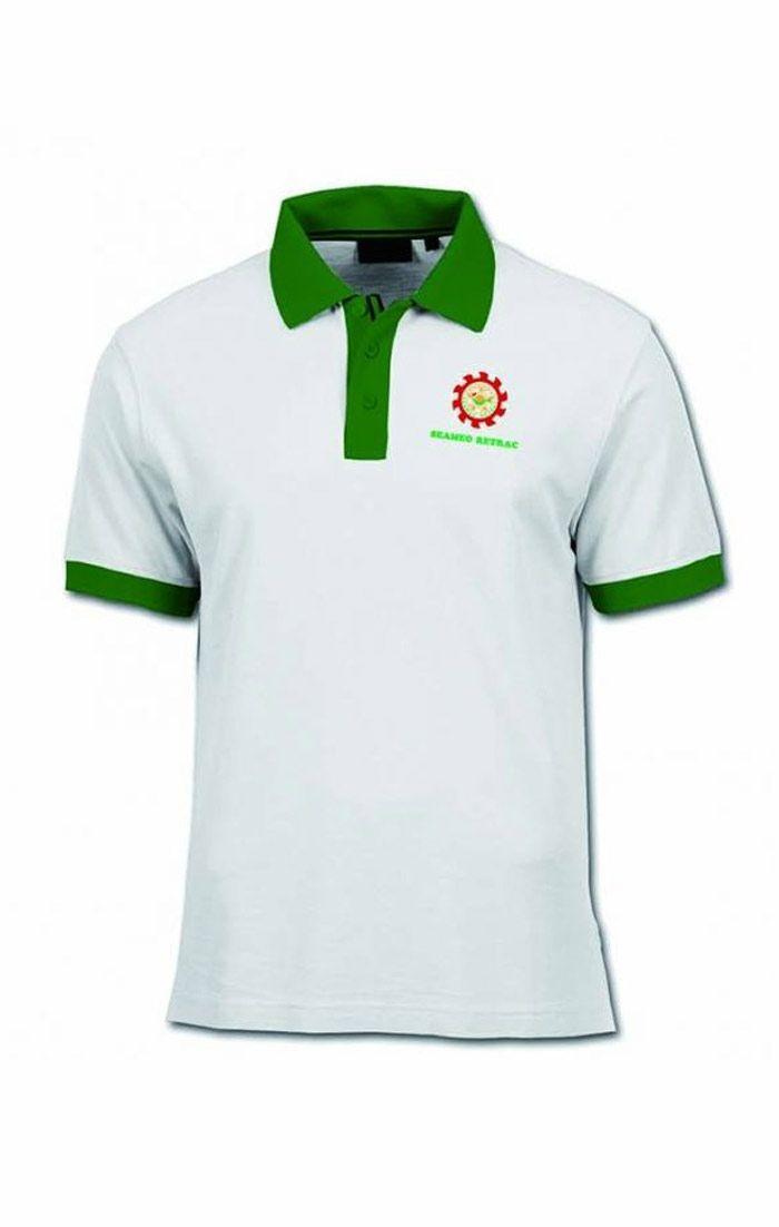 Áo thun đồng phục cổ trụ màu trắng viền xanh