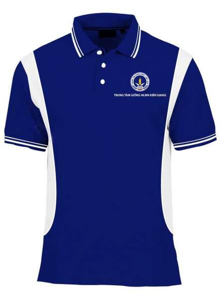 Áo thun đồng phục cổ trụ màu xanh dương viền trắng