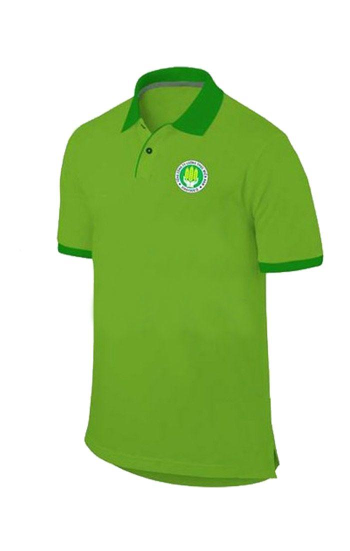 Áo thun đồng phục cổ trụ màu xanh lá viền xanh lá