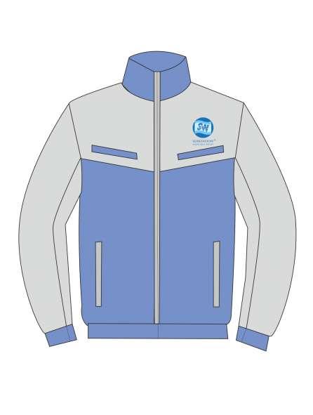 Áo khoác đồng phục màu xanh phối xám