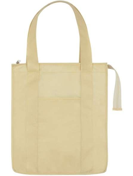 Túi vải không dệt màu kem có dây kéo